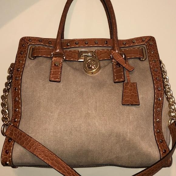 b2445fadd64b Michael Kors Hamilton Canvas Gold studded bag. M_5b8c70bdaaa5b8891485d75a